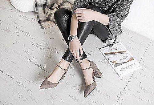 AJUNR Femmes Loisirs été Mode Boucle de Mots, Daim, Velours, Talon Rugueux, Forte tête, Creux Chaussure Unique 8cm Hautes Chaussures de Talon gris foncé