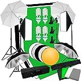 Abeststudio Studio Fotografía Kit de Iluminación Continua 4 X 135W Flash Light Set con Backdrops Paraguas