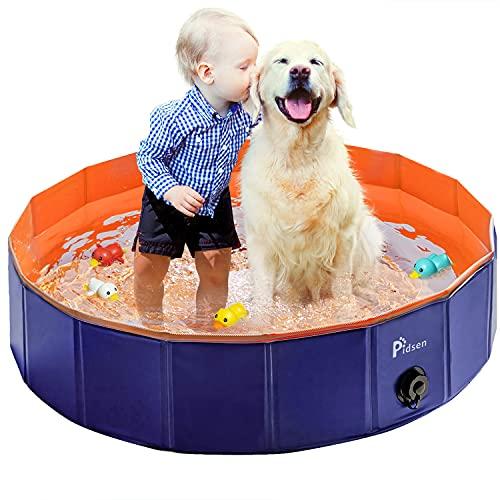 Pidsen Hundepool fur Große Hunde Swimmingpool PVC tragbare Faltbare Planschbecken für Kinder Hunde Katzen Bad Wanne Badewanne Waschbad Haustier Schwimmbad Wasser Teich (120 * 30cm, Orange)