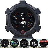 車の傾斜計 HUDヘッドアップディスプレイ GPSモード搭載 車載スピードメーター 警報機能 スロープメーター 車のコンパスプロトラクター クロック 緯度経度、標高、衛星使用時間を表示