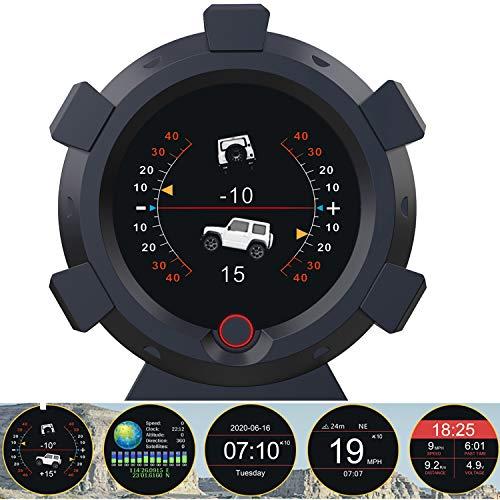 HUDヘッドアップディスプレイ 車の傾斜計 GPSモード搭載 車載スピードメーター 警報機能 スロープメーター 車のコンパスプロトラクター クロック 緯度経度、標高、衛星使用時間を表示
