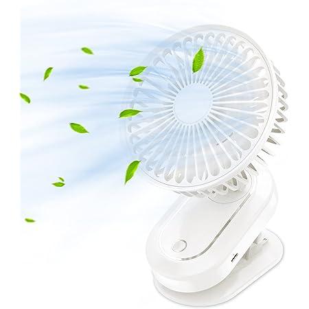 クリップ 扇風機 卓上扇風機 自動首振り 超強風 小型扇風機 静音 usb 扇風機 風量3段階調節 折りたたみ式 長時間連続使用 節電 ミニ扇風機 (オフホワイト)