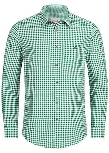 Stockerpoint Trachtenhemd OC-Martl | kariert | Regular Fit (M, Dunkelgrün)
