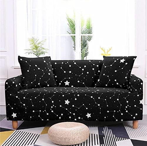 Patrón de Estrella Negra Funda de sofá de 1 Plazas Funda Elástica para Sofá Poliéster Suave Sofá Funda sofá Antideslizante Protector Cubierta de Muebles Elástica