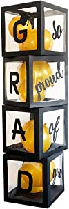 Balloons Boxes GRAD So Proud of You Graduations 2021 for Graduation Party Decorations Supplies for Indoor/Outdoor Home Door Décor 4 Pcs Black Balloons Transparent Boxes(NO Balloons)