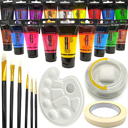 OCEANO Set de 18 Tubos de Pinturas Acrilicas, 18 Colores x 30ml Pintura Acrílica , para Tela, Cerámica, Arcilla, Madera y Tela,Juego de pintura acrílica