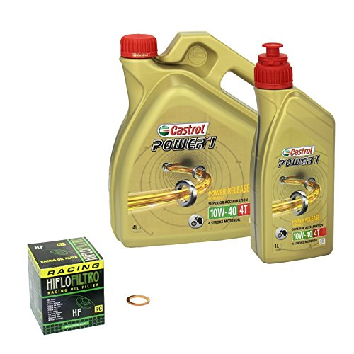 Castrol Power1 (10W-40) Ölwechsel-Set  Intruder 1400 (VS 1400 GL), Bj. 87-88 - Motoröl, HiFlo Racing Ölfilter und Dichtring