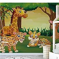 カスタムキッズルームの寝室の写真の壁紙3D漫画の森動物子供部屋の背景壁の装飾壁画