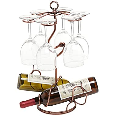 Freestanding Scrollwork Bronze Metal 2 Wine Bottles / 6 Wine Glass Stemware Storage Display Rack Stand