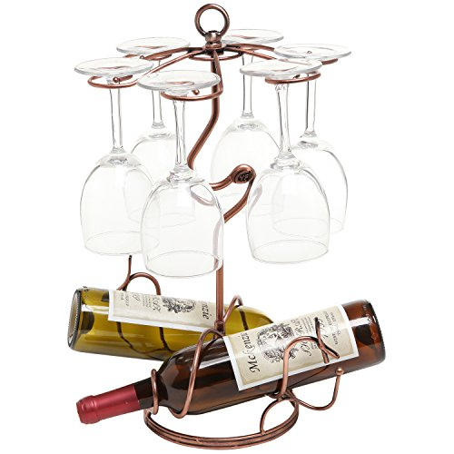 Sculpted Metal Wine Bottle Glass Holder