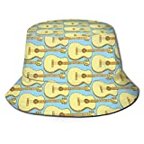 Bucket Cap,Sketch Guitar Musical Instrument Blue Bucket Hat, Classic Fishing Hats for Hiking Beach Camping