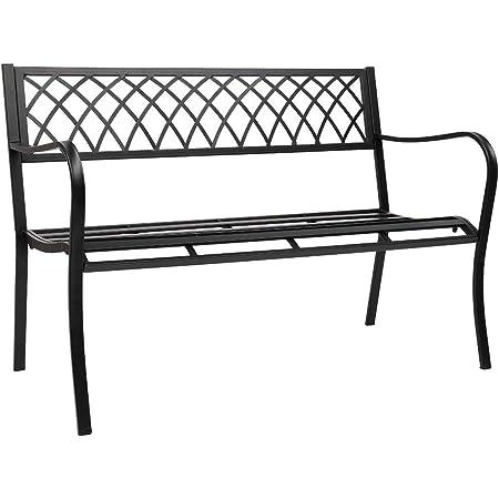 "VINGLI 47"" Patio Outdoor Metal Bench,Powder Coated Cast Iron Steel Cross Design for Garden Path Yard Lawn Work Entryway Decor Deck, Black"