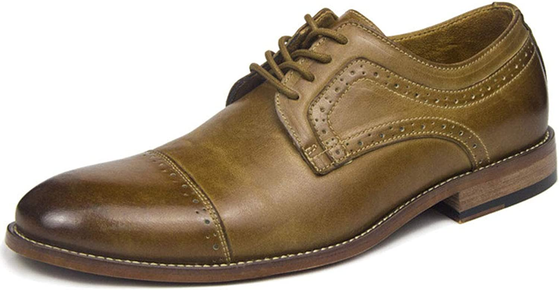 Mens Derby shoes Formal Dress Business Leather shoes For Men Lace Up Wedding Office Vintage Footwear