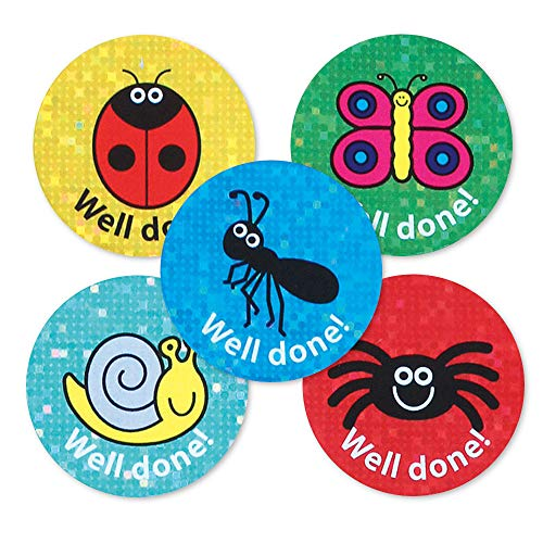 De Sticker Factory 28 mm Minibeasts - Goed gedaan! Sparkly Reward Sticker (Pak van 54)
