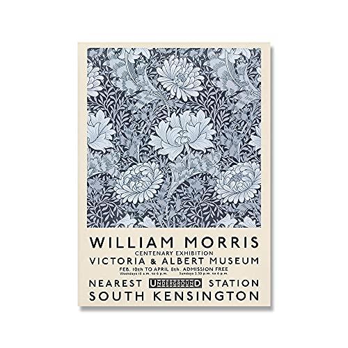Retro William Morris Affisch och tryck Albert Museum Utställning Wall Art Kreativitetsduk Målning Moderna bilder Heminredning 40x60cmx1 ingen ram