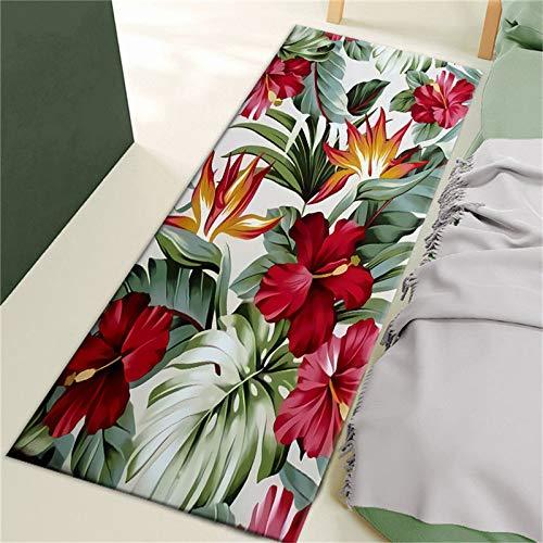 Tappeto nordico con fiori di piante tropicali, tappetino per camera da letto sul comodino del corridore, tappetino antiscivolo, tappeto per porte lunghe del pavimento della cucina NO.2 50X160 cm