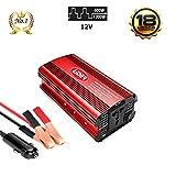 LIDER.-600W1200W Inversor de Corriente Onda sinusoidad modificada, tranformador de DC12V/ a AC220V, con Puerto USB, Pantalla LCD, Toma Encendedor y Pinzas de bateria
