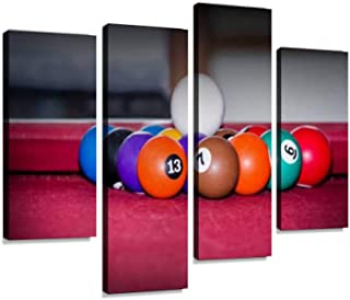 4 Panel billiards ball, pool ball, billiards, snooker 7s and pictures Canvas Pictures Home Decor Gifts Canvas Wall Art for...
