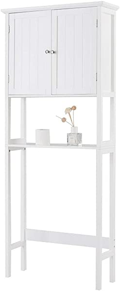 King77777 Adjustable Over The Toilet Bathroom Storage Space Saver With Shelf Beautiful And Suitable Simple Construction