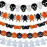 kungfu Mall Cadena de Papel Guirnaldas 5 Paquetes Calabaza Murciélago Araña Fantasma Cráneo Diseño Bunting Banner para Halloween Decoración Colgante