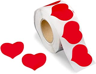 500 Large Red Heart Shaped Stickers on a Roll (1 Roll/500 Stickers)