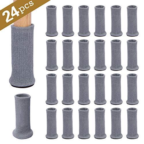 Ezprotekt Möbelsocken mit Silikon, 24er-Pack, Gestrickte Möbelfüße, Stuhlbeinschoner, Stuhlbeine, Rutschfeste Möbelschuhe, Vermeiden Kratzer und Lärm, Bewegen Sie Sich Einfach, Grau