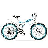 LANKELEISI Bicicleta Plegable K660M 24/26 Pulgadas, 21 velocidades, Horquilla bloqueable, suspensión Delantera y Trasera,...