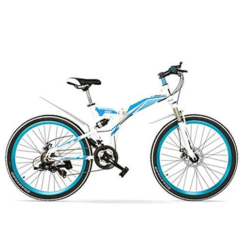 LANKELEISI Bicicleta Plegable K660M 24/26 Pulgadas, 21 velocidades, Horquilla bloqueable, suspensión Delantera y Trasera, Freno de Disco, Bicicleta de montaña (Blanco Azul, 24 Inches)
