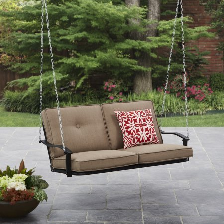 Mainstays Belden Park Outdoor Porch Swing - Tan Seaside Sand Cushions