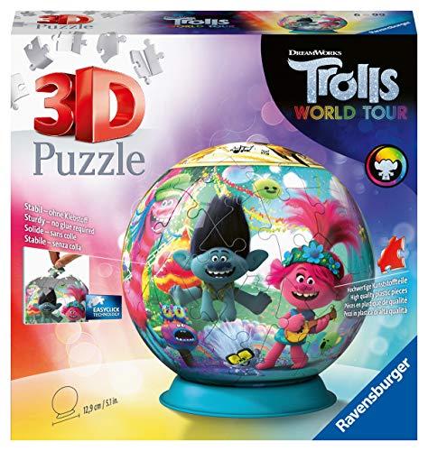 Ravensburger 3D Puzzle 11169 - Puzzle-Ball Trolls - 72 Teile - Puzzle-Ball Trolls-Fans ab 6 Jahren