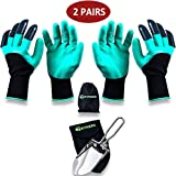 GRYNKER Garden Gloves with Fingertips Claws for Digging - 2 Pairs for Women, Men, Kid - Waterproof Planting Gardening Weeding Seeding Protect Nails and Finger Safe Hand Green Genie Size S-M