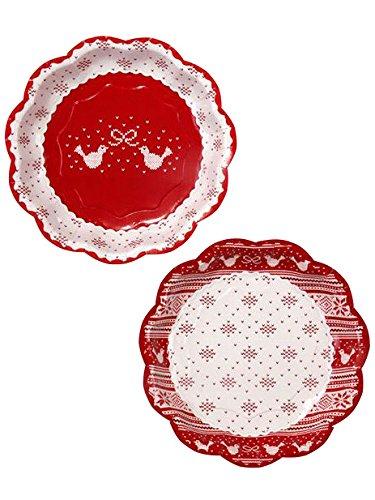 Party Lot de 8 assiettes en papier Motif nœud en porcelaine Rouge