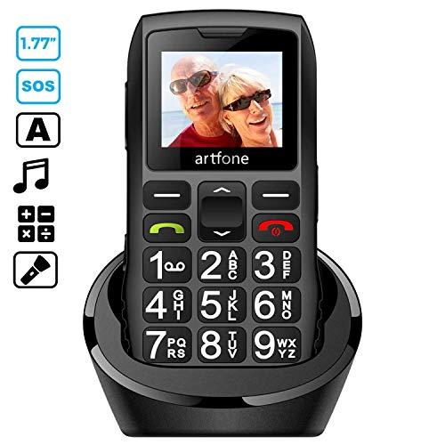 artfone Seniorenhandy mit großen Tasten und ohne Vertrag, Dual SIM Rentner Handy mit Notruf-Knopf, 1400 mAh Akku Lange Standby-Zeit - 1,77 Zoll Farbdisplay - 2G GSM Großtastenhandy mit Ladestation