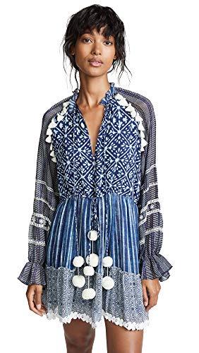 Hemant and Nandita Women's Short Dress, Indigo, Blue, Print, Large