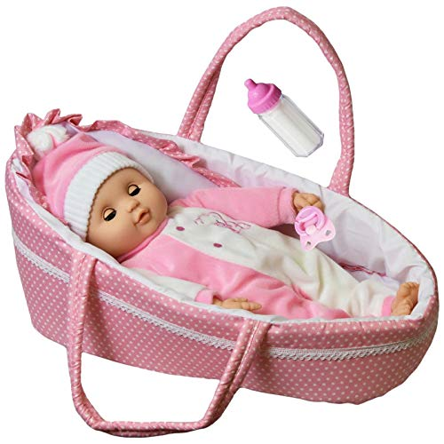 The Magic Toy Shop Baby Doll With Sounds & Carry Cot Bed Pillow Carry Handles Carrier Play Set