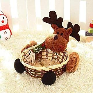 PULABO Panier de Noël, boîte de rangement pour bonbons de Noël, décoration de Noël, panier cadeau d'élan de qualité supéri...