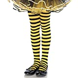 Leg Avenue's Children's Striped Tights, Black/Yellow, Medium