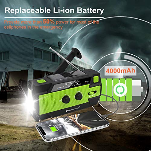Product Image 4: 【2020 Newest】RunningSnail Emergency Crank Radio,4000mAh-Solar Hand Crank Portable AM/FM/NOAA Weather Radio with 1W Flashlight&Motion Sensor Reading Lamp,Cell Phone Charger, SOS for Home and Emergency
