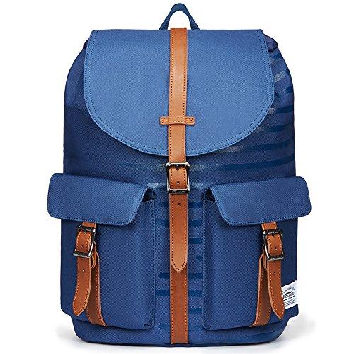 KAUKKO Rucksack Damen Herren Business Rucksäcke mit Laptopfach - Vintage Mädchen Daypack für Uni & Alltag (Blau JNL-E10-12-FBA)
