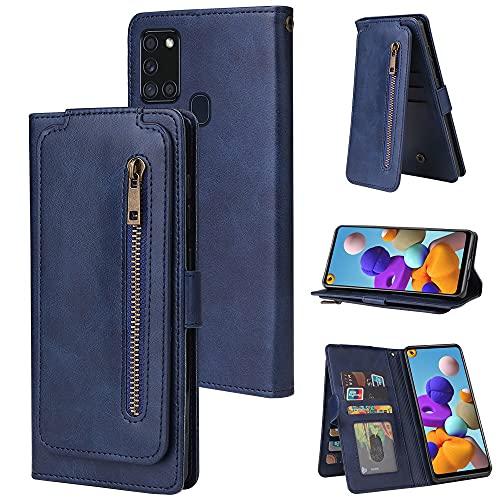 Funda protectora Caja de la billetera para Samsung Galaxy A21S, Funda de la billetera de la billetera de la cremallera de cuero PU con la correa de la muñeca del titular de la tarjeta de crédito, la c