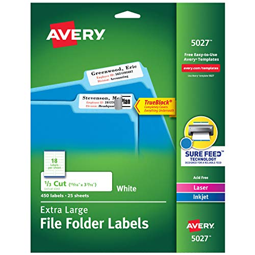 """Avery Etiquetas brancas extragrandes para pasta de arquivos para impressoras a laser e a jato de tinta com tecnologia TrueBlock, 15/16"""" x 9,5/16"""", pacote com 450 (5027)"""