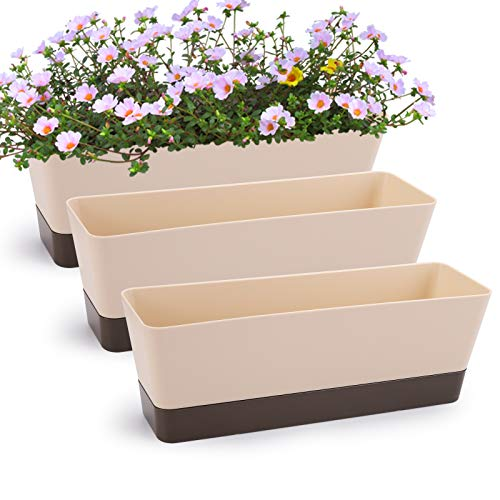 Fasmov 3 Pack Rectangle Planter for Plants, Modern Small Succulent Cactus Indoor Window Boxes with Saucer Plastic Plant Pots for All House Plants Flowers Herbs