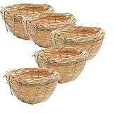 joyMerit 5 Piezas De Bambú Tejido Nido Canario Cría De Aves Incubación Jaula Loro