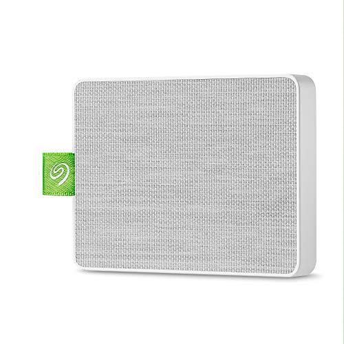 Seagate UltraTouch SSD 500Go, SSD externe portable – blanc, USB-C et USB3.0, pour PC et Mac, application Seagate Mobile Touch pour Android, Mylio et Adobe (STJW500400)