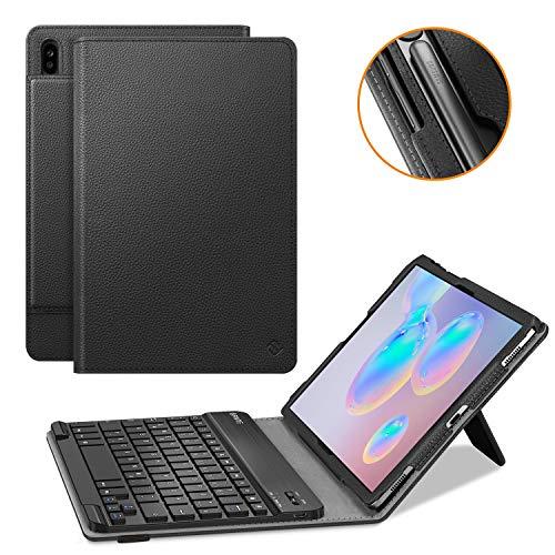Fintie Tastatur Hülle für SamsungGalaxy Tab S6 10.5 SM-T860/T865 2019 Tablet-PC - Slim Fit Kunstleder Stand Schutzhülle mit Magnetisch Abnehmbar Drahtloser Bluetooth Tastatur, Schwarz