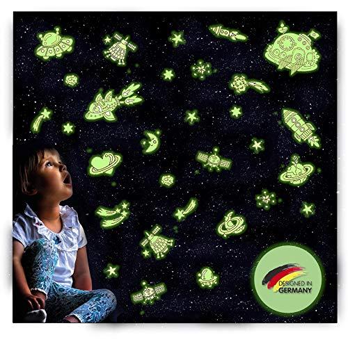 R&M Orient Leuchtsticker selbstklebend mit extra starke Leuchtkraft, 86 Stück fluoreszierende Leuchtelemente Wandtattoo & Wandsticker, Leuchtaufkleber für Baby-, Kinder- oder Schlafzimmer (Weltraum)