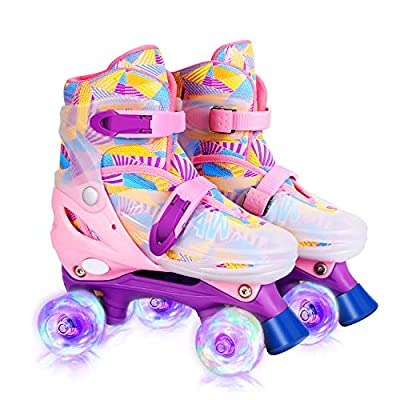 GVDV Roller Skates for Girls - Adjustable Size Double Roller Skates, with 8 Wheels Light Up, Full Protection for Children's Indoor and Outdoor Play, Rollerskates for Kids Beginners, Pink (Medium 2-4)