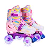 GVDV Roller Skates for Girls - Adjustable Size Double Roller Skates, with 8 Wheels Light Up, Full Protection for Children's Indoor and Outdoor Play, Rollerskates for kids Beginners (Pink/Small)
