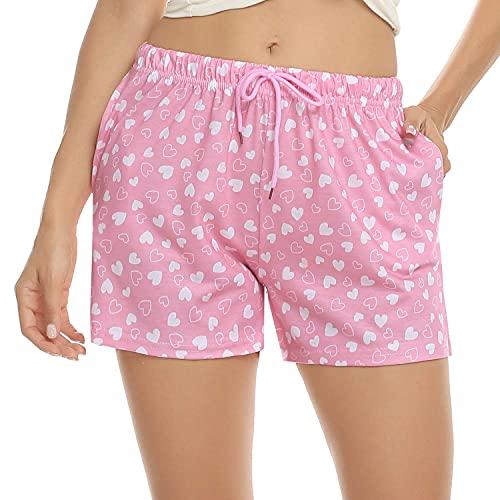 QIN.J.FANG-MY Pantalones Cortos para Dormir con Estampado de salón de algodón, Pantalones Cortos de Pijama para Mujer, Pantalones Casuales para Ropa de Dormir con cordón para Verano de Damas