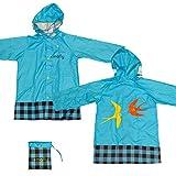 【White Seek】レインコート キッズ 子供 男の子 女の子 レインウェア 雨具 かっぱ 携帯ポーチ付き (ブルー M)